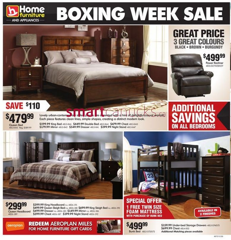 Home furniture and appliances boxing week sale 2012 for P s furniture flyer