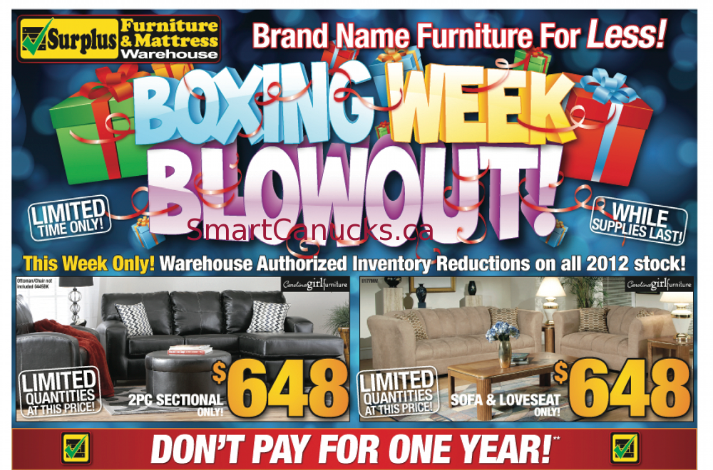 Surplus freight furniture boxing week specials 2012 for Best time of year for mattress sales