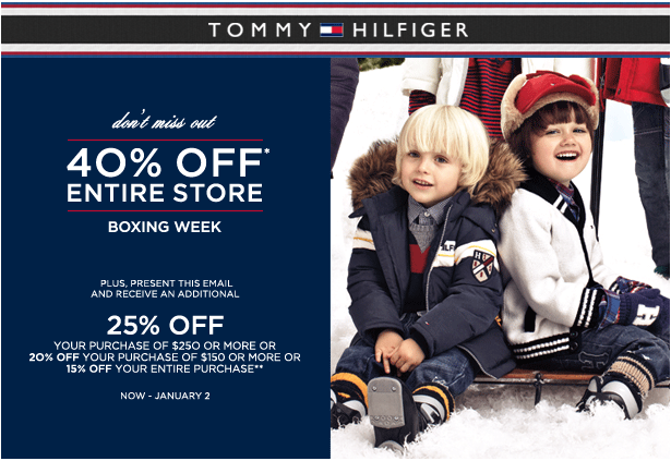 graphic relating to Tommy Hilfiger Outlet Coupon Printable known as Tommy Hilfiger Canada Boxing Working day/7 days Sale Coupon \u203a Cyber